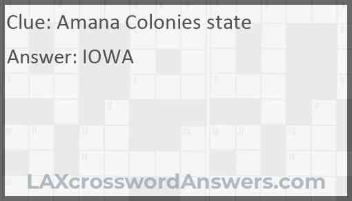 Amana Colonies state Answer
