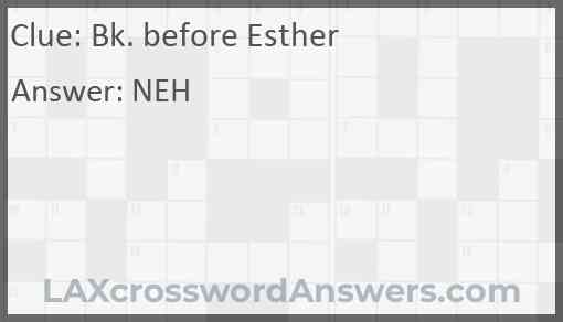 Bk. before Esther Answer