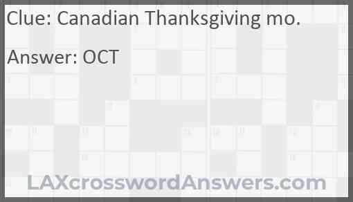 Canadian Thanksgiving mo. Answer