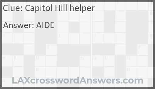 Capitol Hill helper Answer