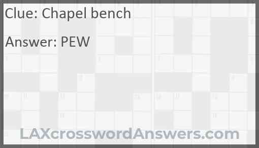 Chapel bench Answer