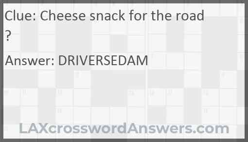 Cheese snack for the road? Answer