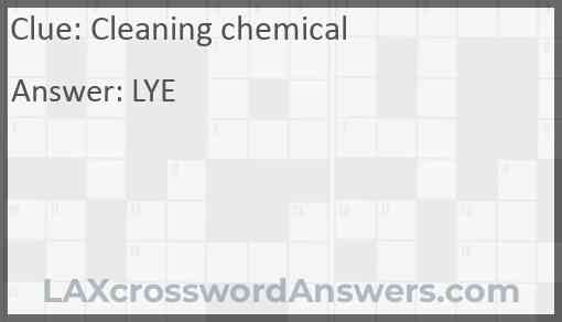 Cleaning chemical Answer