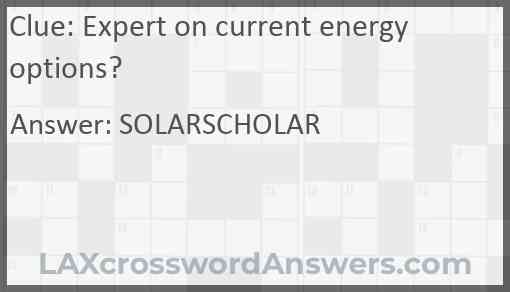 Expert on current energy options? Answer