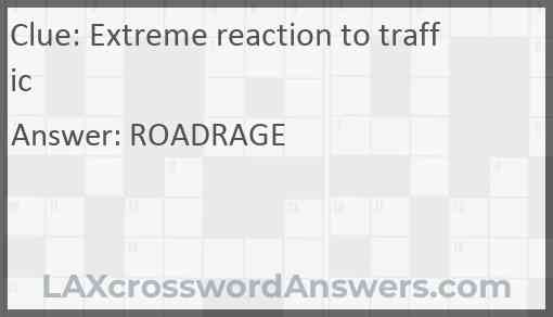 Extreme reaction to traffic Answer