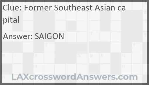 Former Southeast Asian capital Answer