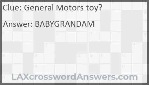 General Motors toy? Answer