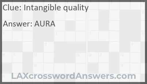 Intangible quality Answer