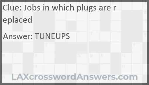 Jobs in which plugs are replaced Answer