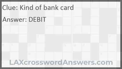 Kind of bank card Answer