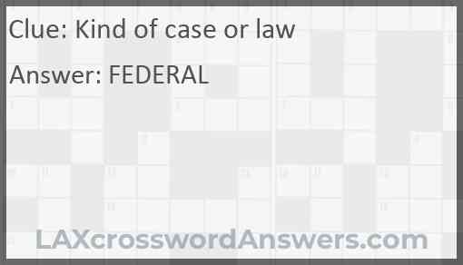 Kind of case or law Answer