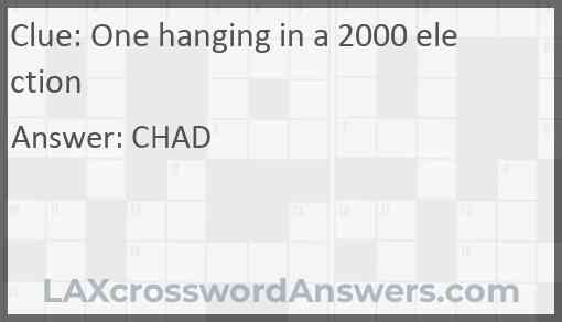 One hanging in a 2000 election Answer
