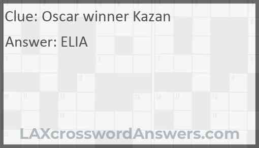 Oscar winner Kazan Answer