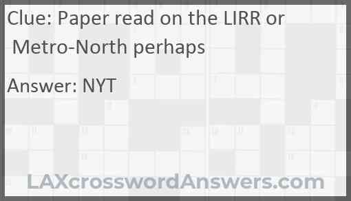 Paper read on the LIRR or Metro-North perhaps Answer