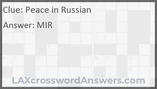 Peace in Russian Answer
