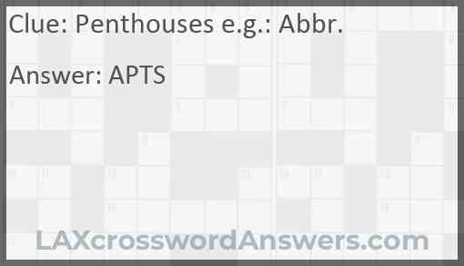 Penthouses e.g.: Abbr. Answer
