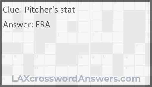 Pitcher's stat Answer