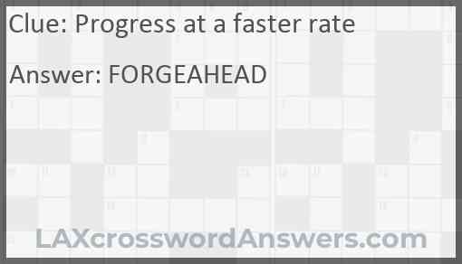 Progress at a faster rate Answer