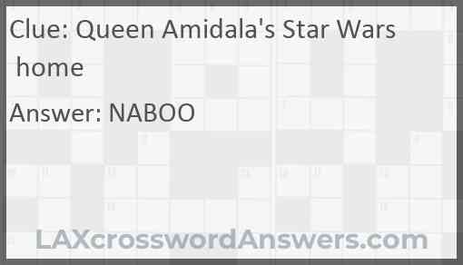 Queen Amidala's Star Wars home Answer