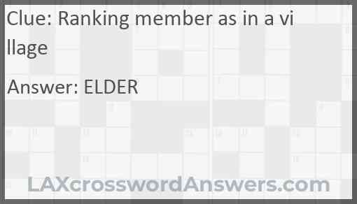 Ranking member as in a village Answer