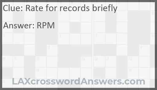 Rate for records briefly Answer