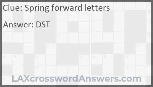 Spring forward letters Answer