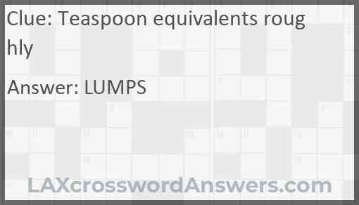 Teaspoon equivalents roughly Answer
