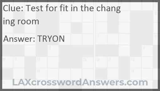 Test for fit in the changing room Answer