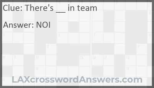 There's __ in team Answer