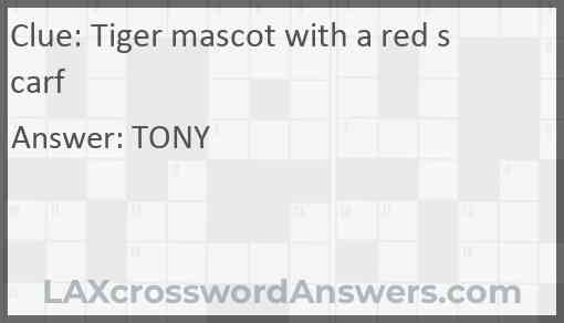 Tiger mascot with a red scarf Answer