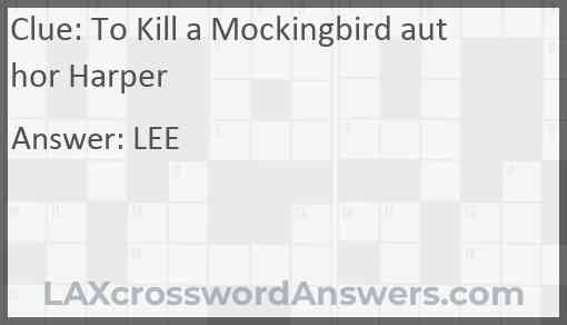 To Kill a Mockingbird author Harper Answer