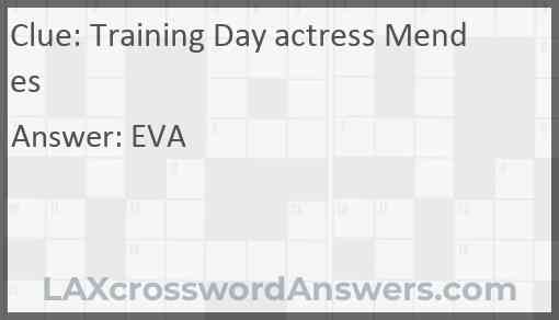Training Day actress Mendes Answer