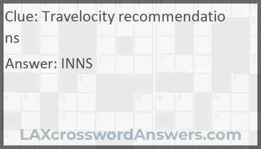 Travelocity recommendations Answer