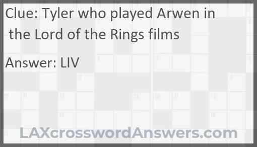 Tyler who played Arwen in the Lord of the Rings films Answer