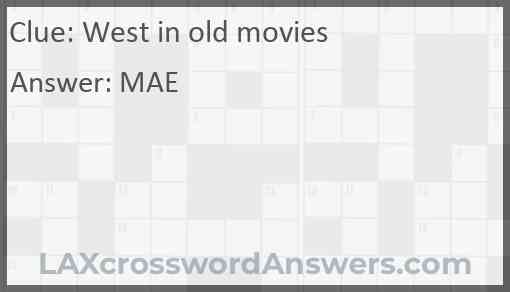 West in old movies Answer