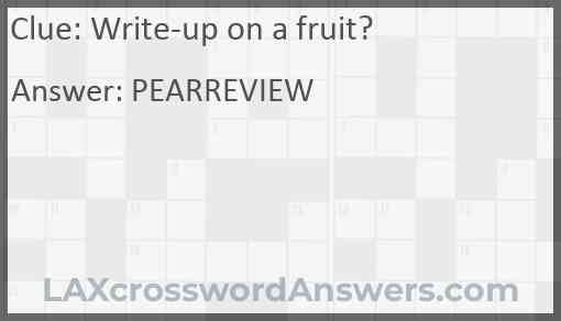 Write-up on a fruit? Answer