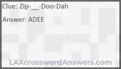 Zip-__-Doo-Dah Answer